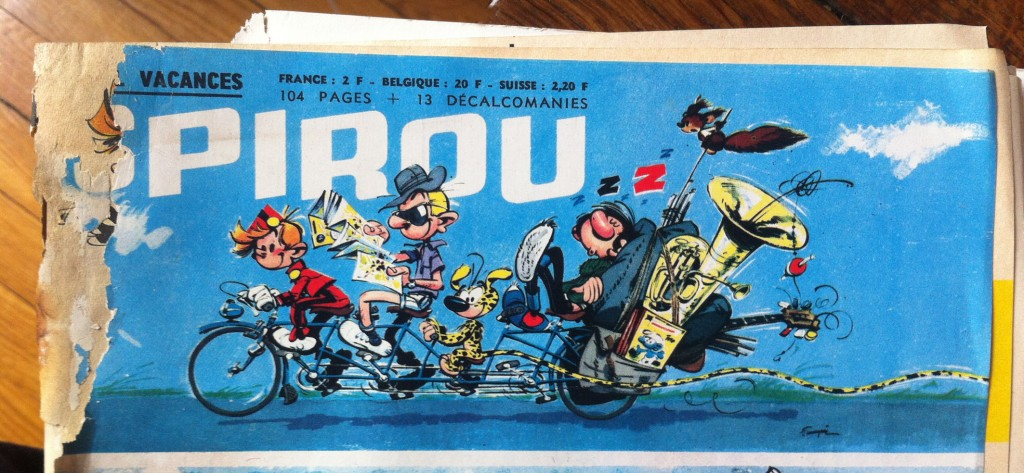 Carte postale spirou- fantasio- gaston lagaffe-juillet-1964